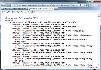 Duplicate File Search XML Report sample